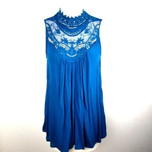 Japna | Small Blue Lace Caged Neck Sleeveless Top